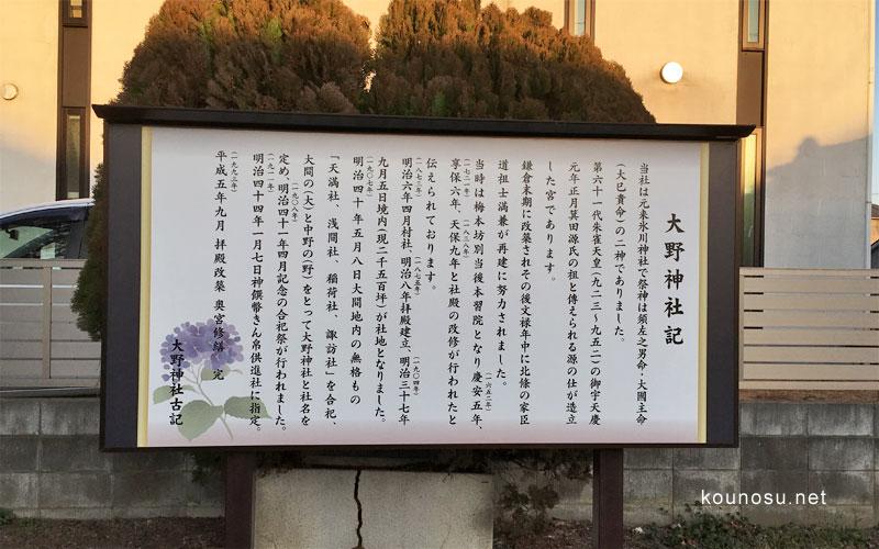 埼玉県鴻巣市「大野神社」 大野神社古記