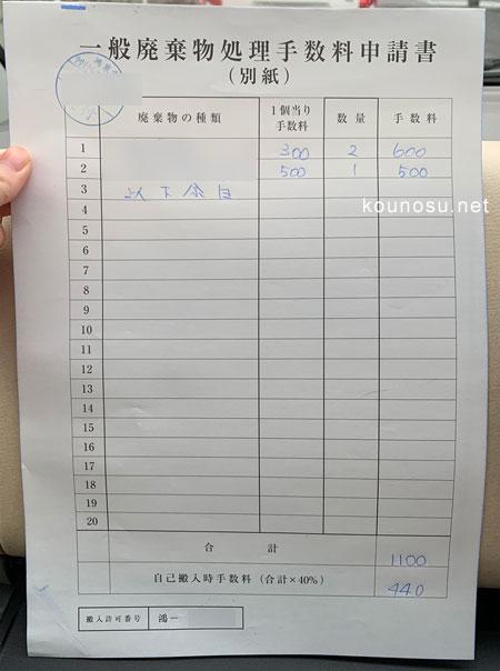 一般廃棄物処理手数料申請書(別紙)